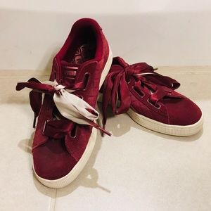 Puma Suede Heart Quilt Shoes size 7 1/2 maroon